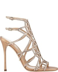 Embellished puzzle caged sandals nude medium 322086