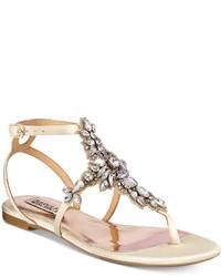 Badgley Mischka Cara Embellished Flat Evening Sandals Shoes