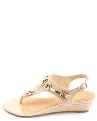 87cff430e ... Charlotte Russe Golden Buckle Embellished Silver Wedge Sandals