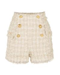 Balmain Button Embellished Tweed Shorts