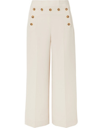Tory Burch Button Embellished Cropped Crepe Wide Leg Pants