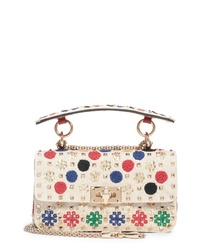 Beige Embroidered Canvas Crossbody Bag