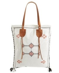 Beige Embroidered Canvas Tote Bag