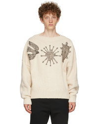 Alexander McQueen Off White Crystal Embroidered Slash Neck Sweater