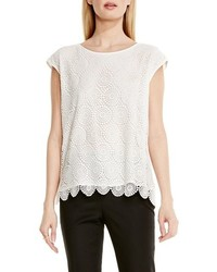 Vince Camuto Cap Sleeve Embroidered Lace Blouse