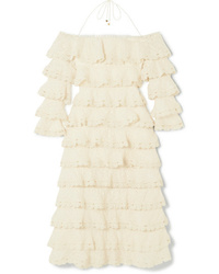 Zimmermann Tiered Lace And Cotton And Gauze Dress