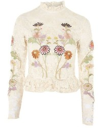 Topshop Lace Embroidered Peplum Top