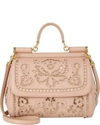 Dolce & Gabbana Cutwork Embroidered Miss Sicily Bag Nude