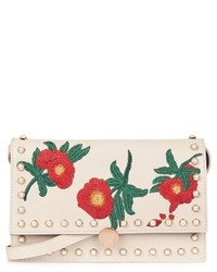 Topshop Ocean Pearl Embroidered Faux Leather Crossbody Bag Beige