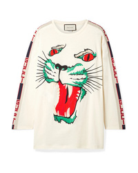 Gucci Med Embroidered Cotton Jersey Top