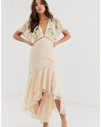 ASOS DESIGN Occasion Midi Dress With S And Embroidery