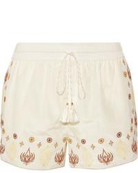 Stephanie embroidered cotton and silk blend voile shorts ecru medium 3731829