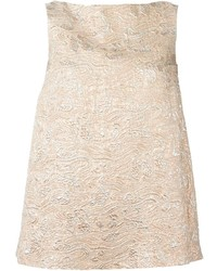 Beige Embroidered Sleeveless Top