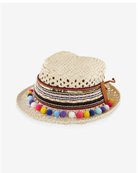 Express Embroidered Straw Pom Pom Fedora