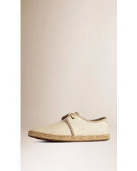 Burberry Japanese Linen Lace Up Espadrilles
