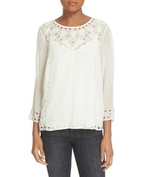 Joie Gaiane Eyelet Embroidered Top