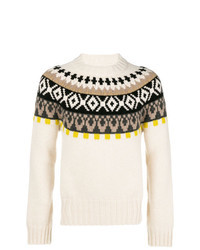 Beige Fair Isle Crew-neck Sweater