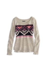 American Eagle Outfitters Fair Isle Crew Sweater L