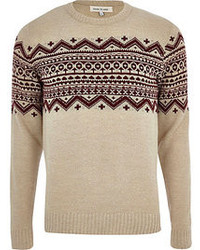 Ecru fair isle stripe crew neck sweater medium 74523