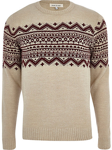 River Island Ecru Fair Isle Stripe Crew Neck Sweater | Where to ...