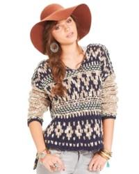 Free People Sweater Long Sleeve Fair Isle Hoodie