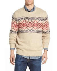 Vineyard Vines Rag Fair Isle Crewneck Sweater With Suede Elbow Patches