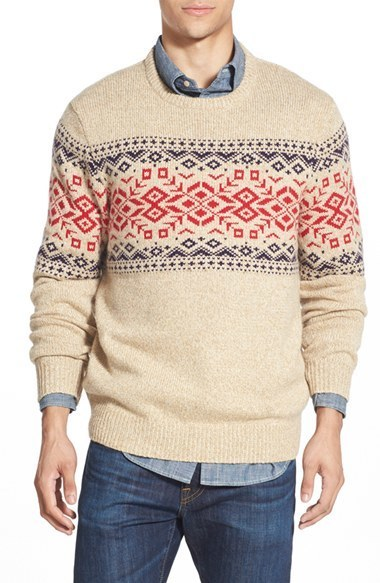 Vineyard Vines Rag Fair Isle Crewneck Sweater With Suede Elbow ...