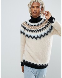 Beige Fair Isle Turtleneck