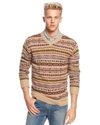 How to Wear a Beige Fair Isle V-neck Sweater (5 looks) | Men's Fashion