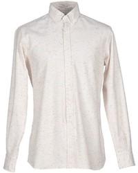 Beige Flannel Long Sleeve Shirt
