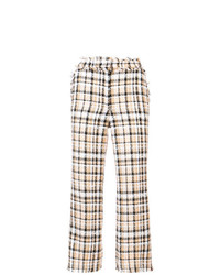MSGM Check Tweed Cropped Flared Trousers