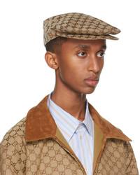 Gucci Beige Cotton Drill Gg Flat Cap
