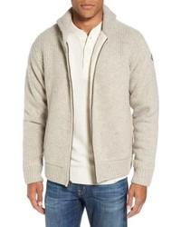Beige Fleece Zip Sweater