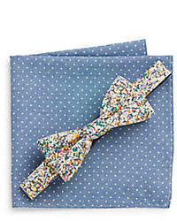 Apollo floral bow tie polka dot pocket square set medium 310466
