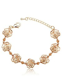 Boniskiss 2013 New Fashion Hollow Rose Flower Bracelet Wristband Pave With Clear Cubic Zirconia Stones