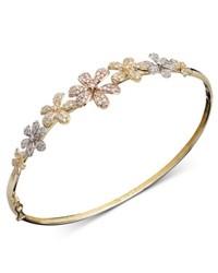 Macy's Diamond Bracelet Tri Tone Diamond Flower Bangle