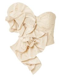 Alexander McQueen Less Ruffled Silk Jacquard Bustier Top