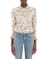 Beige Floral Button Down Blouse