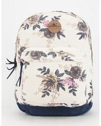 Beige Floral Canvas Backpack