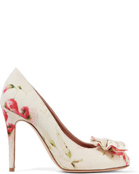 Redvalentino bow embellished floral print canvas pumps medium 3674675