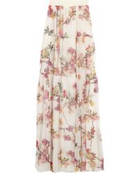 Floral print silk chiffon maxi skirt medium 272013