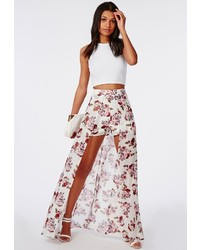 Missguided floral print shorts with maxi skirt detail medium 272014