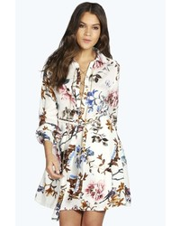 Boohoo Alisia Floral Lace Up Shirt Dress