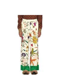 Gucci Ivory Shamrock Floral Print Trousers