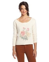 Beige Floral Crew-neck Sweater