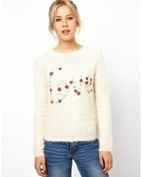 Asos Fluffy Sweater With Floral Love