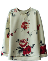 Romwe Asymmetric Floral Print Long Sleeved Blouse
