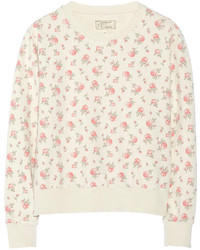 Current/Elliott The Shrunken Jogger Floral Print Cotton Sweatshirt