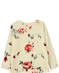 Romwe Floral Print Round Neck Long Sleeves Loose Sweatshirt