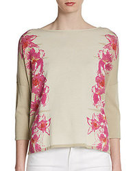 Lafayette 148 new york floral intarsia sweater medium 30863